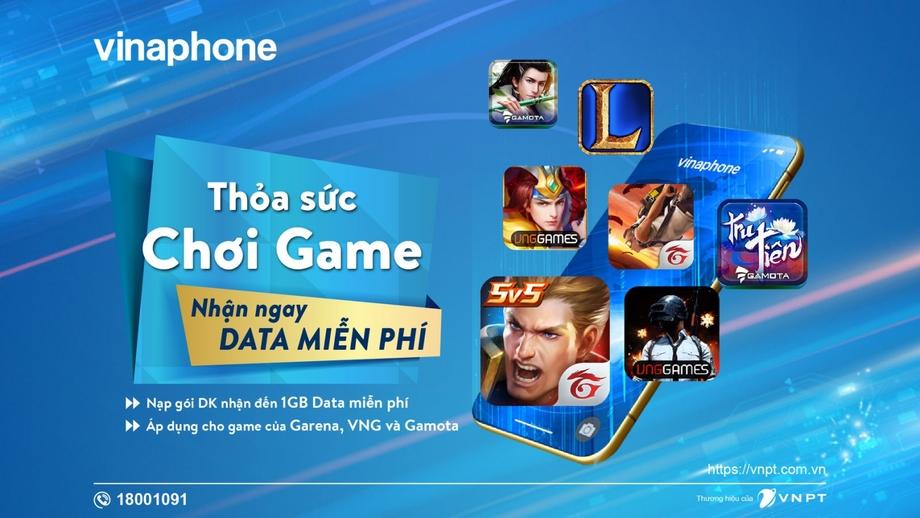 Thỏa sức chơi game, nhận thêm Data miễn phí khi nạp gói DK của VinaPhone